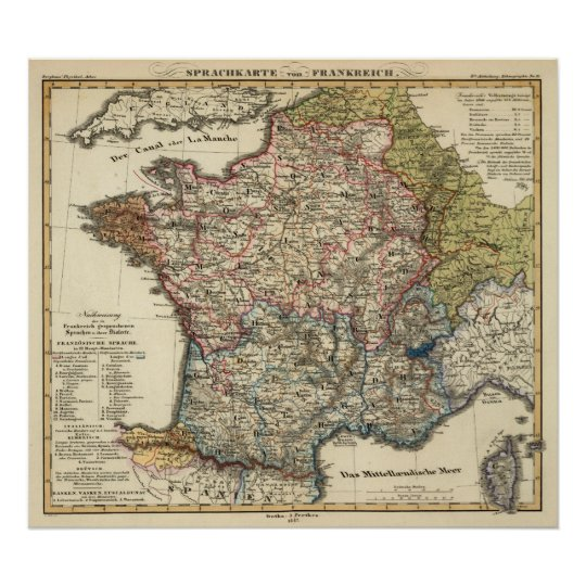 Map Of France Poster.Linguistic Map Of France Poster