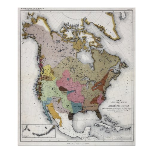 Linguistic stocks of American Indians Poster