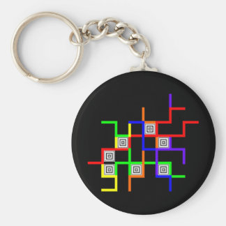 Linien Quadrate lines squares Basic Round Button Key Ring