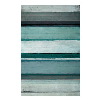 'Link' Teal and Grey Abstract Art Poster
