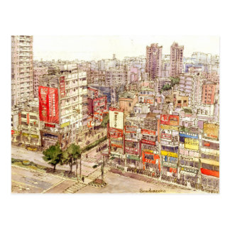 Linkou, Taiwan. urban sketch.ROC. Postcard