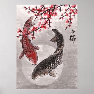 LinLi Chinese Watercolor Art Print - KOI Fish 1