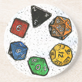 Lino-print Game Dice Coaster