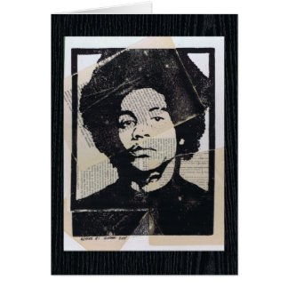 Linoleum Block Print Mixed Media Collage Arthur #1 Card