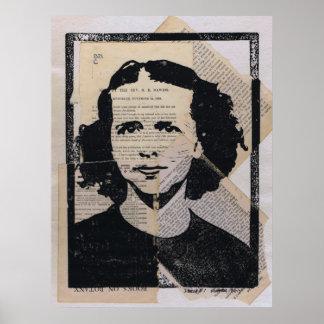 Linoleum Block Print Mixed Media Collage Darla #1