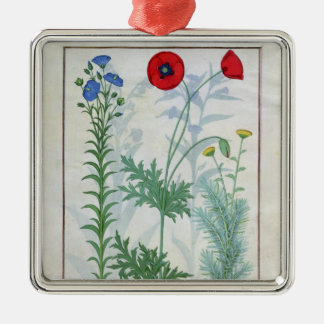 Linum, Garden poppies and Abrotanum Christmas Ornament
