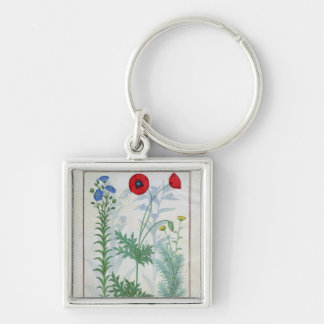 Linum, Garden poppies and Abrotanum Silver-Colored Square Key Ring