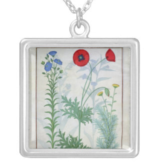Linum, Garden poppies and Abrotanum Silver Plated Necklace