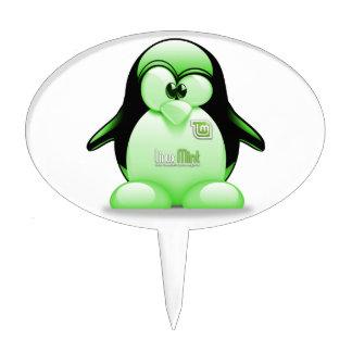 Linux Mint with Tux Logo Cake Picks