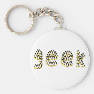 Linux Tux Geek Basic Round Button Key Ring