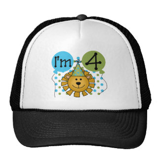 Lion 4th Birthday T-shirts and Gifts Cap