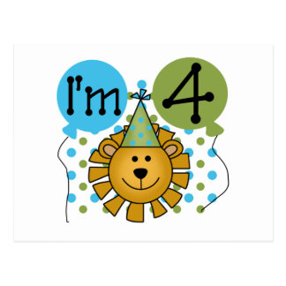 Lion 4th Birthday T-shirts and Gifts Postcard