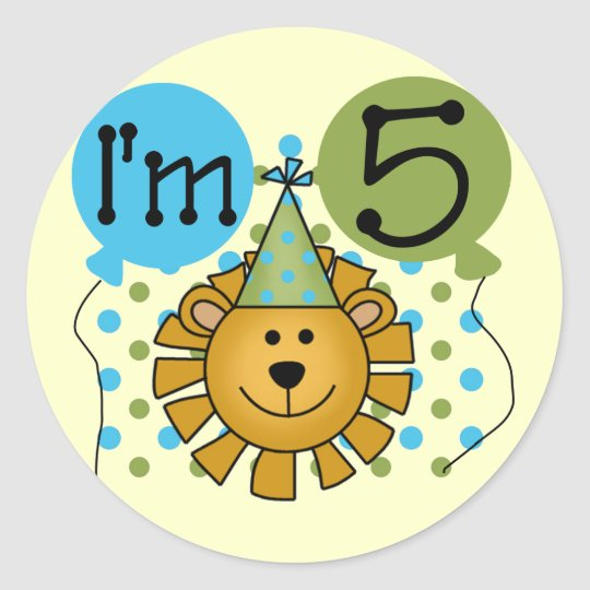 Lion 5th Birthday T-shirts and Gifts Classic Round