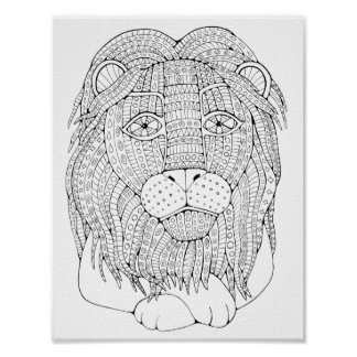 Lion Adult Coloring Page Poster