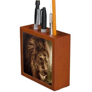 Lion against stormy sky desk organiser