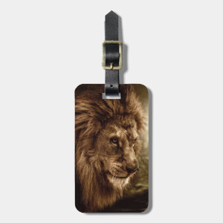 Lion against stormy sky luggage tag