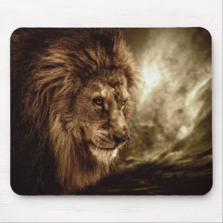 Lion against stormy sky mouse mat
