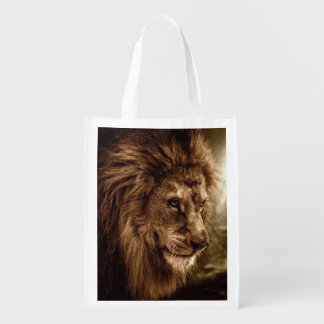 Lion against stormy sky reusable grocery bag