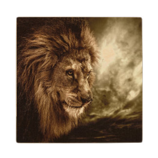Lion against stormy sky wood coaster