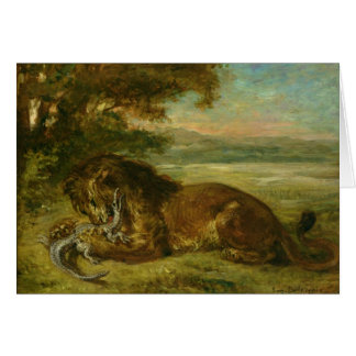 Lion and Alligator, 1863 Greeting Card
