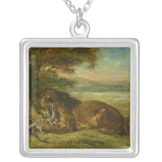 Lion and Alligator, 1863 Silver Plated Necklace