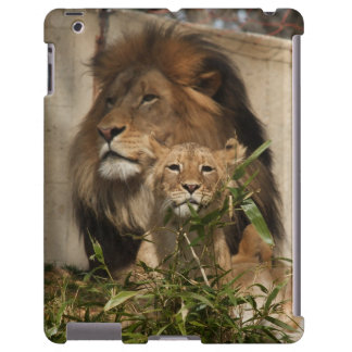 Lion and cub in the grass iPad case