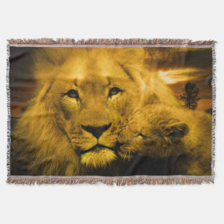 Lion and Cub Throw Blanket