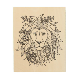 Lion And Flowers Doodle 5 Wood Canvases