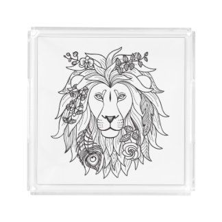 Lion And Flowers Doodle Acrylic Tray