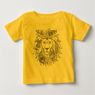 Lion And Flowers Doodle Baby T-Shirt