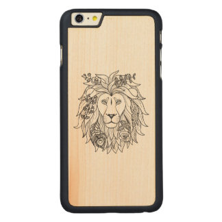 Lion And Flowers Doodle Carved® Maple iPhone 6 Plus Case