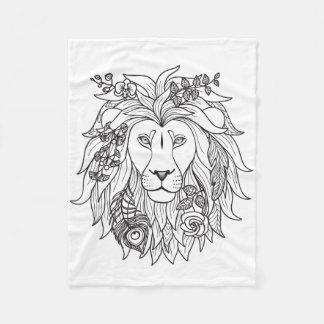 Lion And Flowers Doodle Fleece Blanket