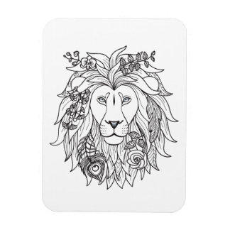 Lion And Flowers Doodle Magnet