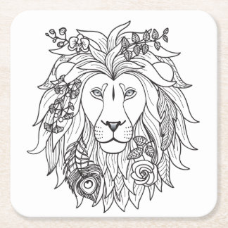 Lion And Flowers Doodle Square Paper Coaster