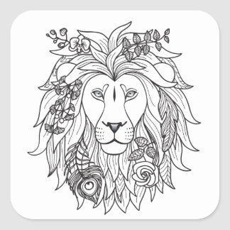 Lion And Flowers Doodle Square Sticker