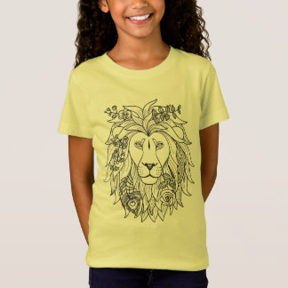 Lion And Flowers Doodle T-Shirt