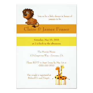 Lion and Giraffes Baby Shower Card