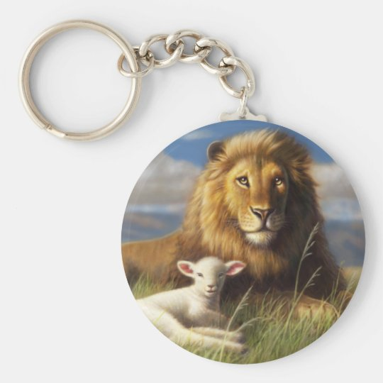 Lion and Lamb Basic Button Keychain