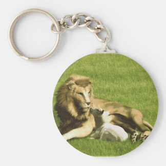 Lion and Lamb Basic Round Button Key Ring