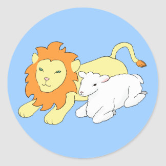 Lion and Lamb Classic Round Sticker