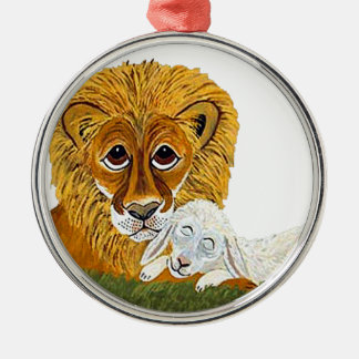 Lion And Lamb Silver-Colored Round Decoration