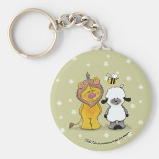 Lion and Lamb True Friends Basic Round Button Key Ring