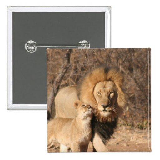 Lion and Lion Cub Button