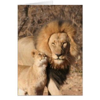 Lion and Lion Cub Greeting Card