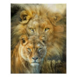 Lion And Lioness-African Royalty Art Poster/Prinr Poster