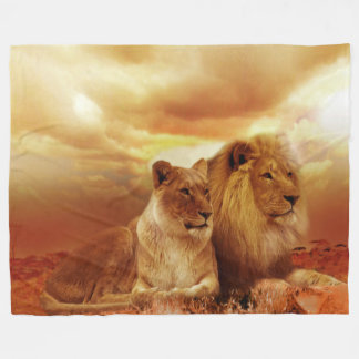 Lion and Lioness Custom Fleece Blanket, Large
