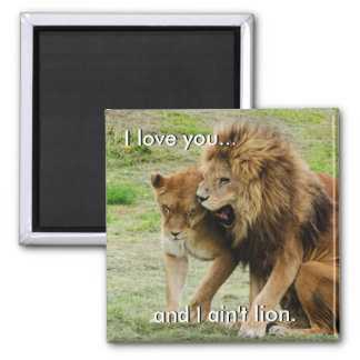 Lion and Lioness Square Magnet