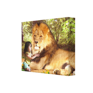 Lion and Little Girl Stretched Canvas Prints