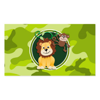 Lion and Monkey bright green camo camouflage Business Card Templates