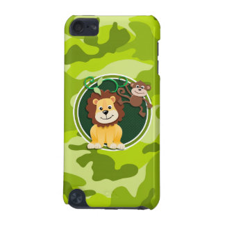 Lion and Monkey bright green camo camouflage iPod Touch 5G Cases